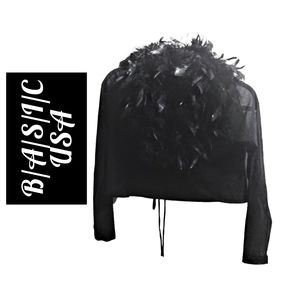 Chic B/A/S/I/C USA Black Top w/Black Feathers